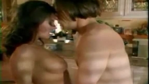 Kinky, young brunette pussye gets ass fucked on the kitchen counter
