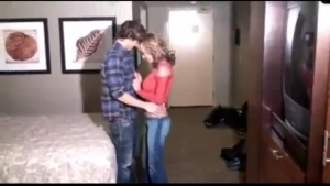 Mature, blonde woman with curly hair got down and dirty with three guys in a nice hotel rooms