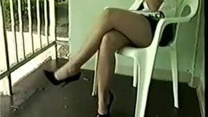 Incredible blonde girl, Candice Dare is wearing only her black shoes with high heels while cheating on her boyfriend